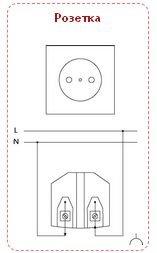 Эл схема розетка двойная