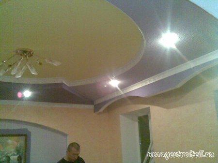 Фото потолка в гостиной комнате